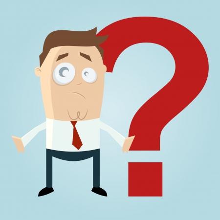 Funny Cartoon Mann vor einem Fragezeichen Illustration