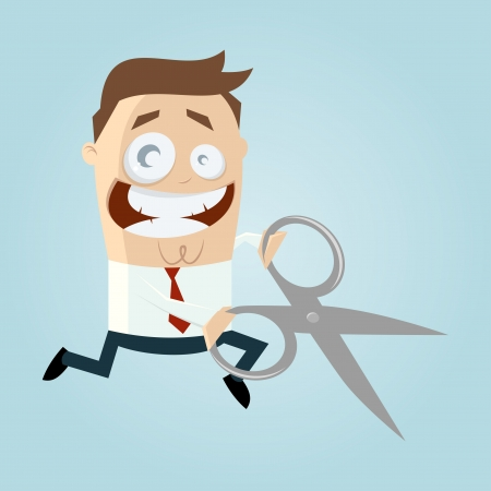 Cartoon man with scissors Stock Vector - 20104230