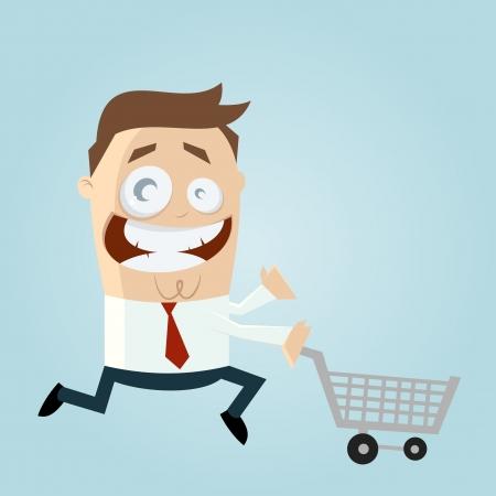 Cartoon man met een winkelwagentje