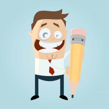 funny cartoon man with pen Vector