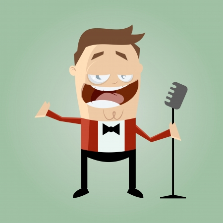funny cartoon singer Stock Vector - 20104238