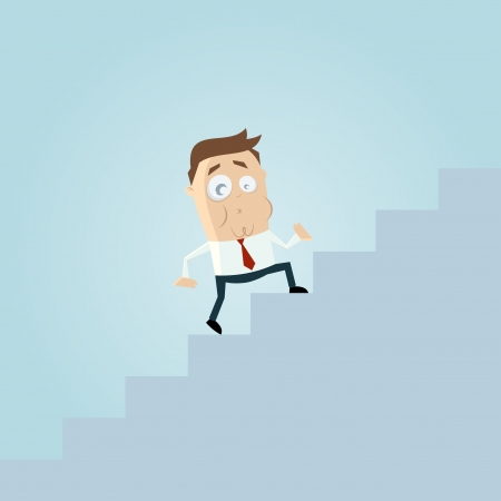 funny business cartoon man is climbing stairs Vector