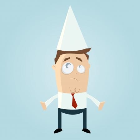 dunce cap: Cartoon man with dunce cap Illustration