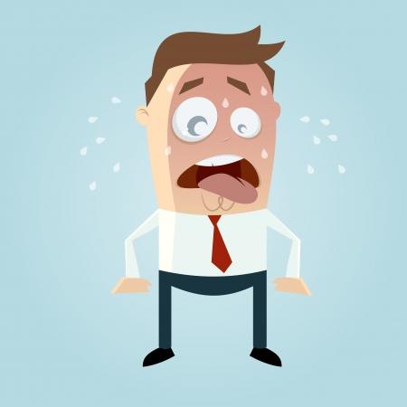 lustige Cartoon-Mann schwitzt