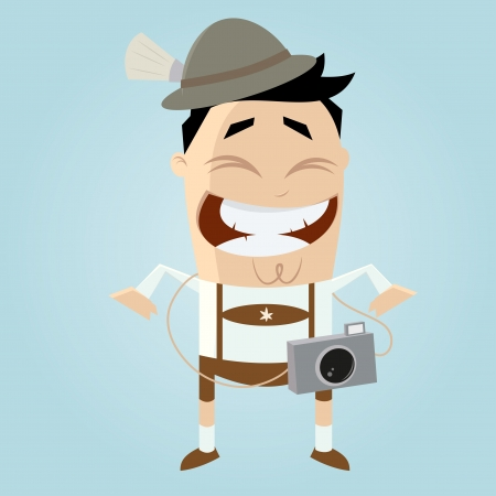 funny tourist in bavaria Illustration