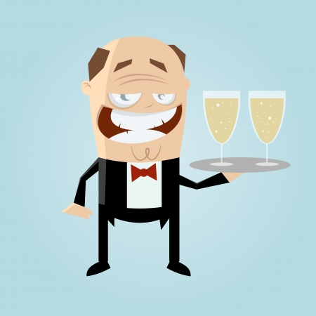 funny cartoon waiter Vector