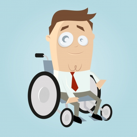 Funny cartoon man in wheelchair Vector