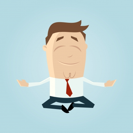 levitation: Funny cartoon man is doing yoga