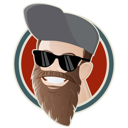 cool guy: funny cartoon man with a long beard