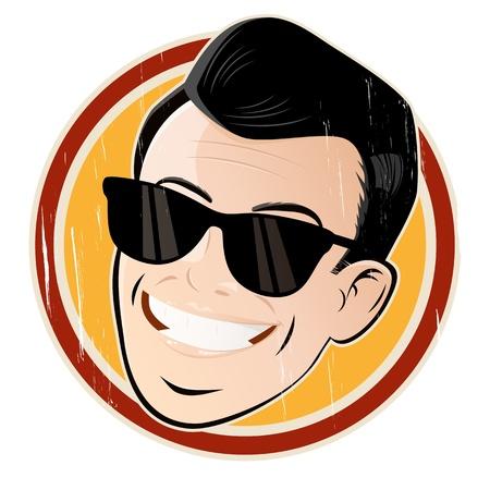 Cartoon Kopf entspannt mit Sonnenbrille Standard-Bild - 20111910