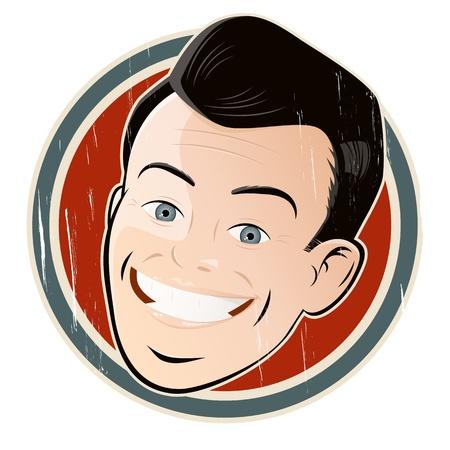 old drawing: vintage cartoon man on a badge Illustration