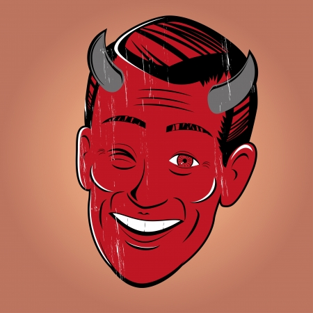 retro man: winking cartoon devil Illustration