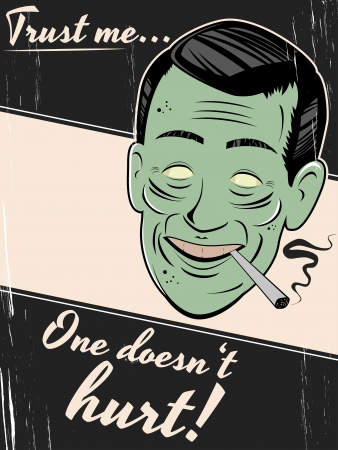 ugly man: cigarette smoking man is giving an unhealthy advice