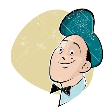 cartoon worker: trabajador historieta del vintage Vectores
