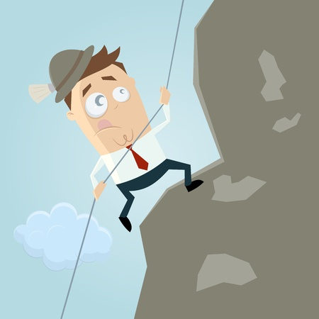 cartoon man climbing a mountain