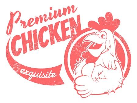 cartoon rooster: retro chicken sign
