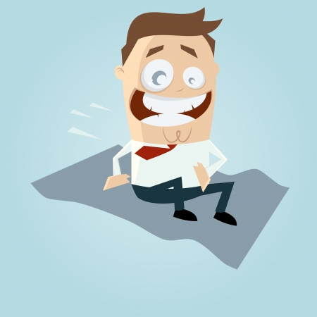 cartoon man on magic carpet Vector