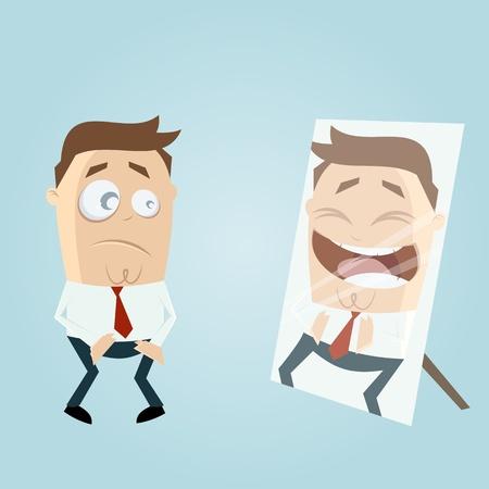 amuse: cartoon man in mirror