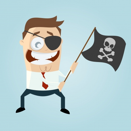 businessman with pirate flag Stock Vector - 21645976