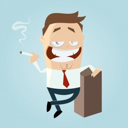 Cartoon-Mann ist das Rauchen Illustration