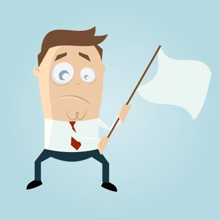 cartoon man waving white flag