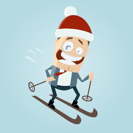 cartoon man is skiing Vector