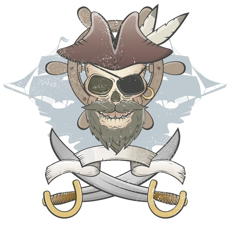 creepy pirate skull Vector