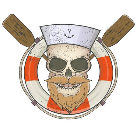 skull character: creepy sailor skull with lifesaver and paddles Illustration