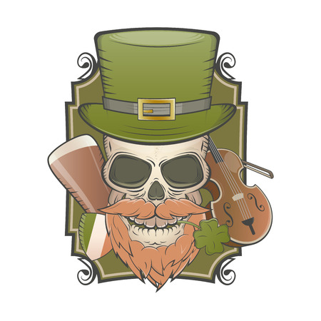 top hat cartoon: irish vintage skull