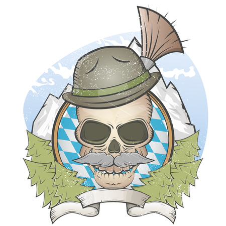 bavaria: skull with hat and bavarian gamsbart