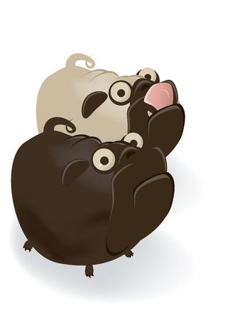 amuse: funny cartoon pug couple