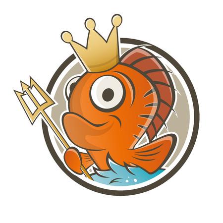 funny fish king cartoon Stock Vector - 22469407