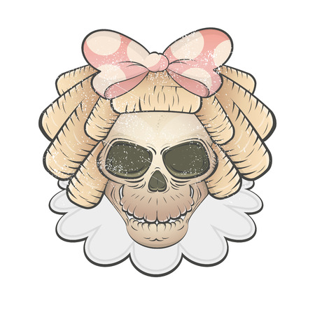 hair bow: creepy girl skull