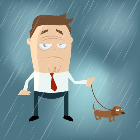 funny cartoon man with dog on a rainy day Illustration