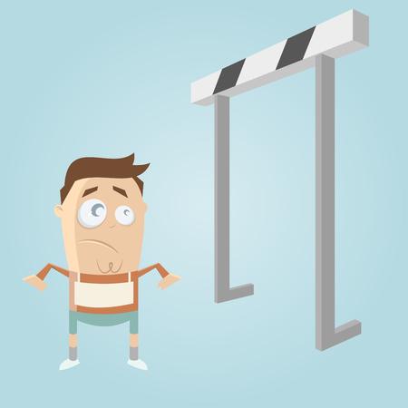 hurdles: cartoon man and hurdles