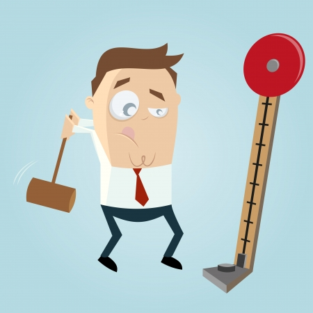 tester: funny business man with strength tester Illustration