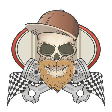 bärtigen racing Totenkopf mit gekreuzten Kolben Illustration