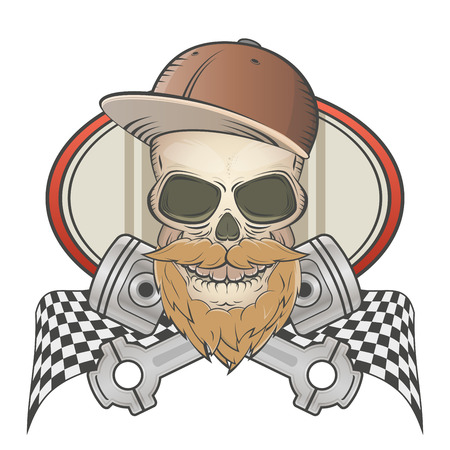 motorsport: bearded racing skull with crossed pistons Illustration