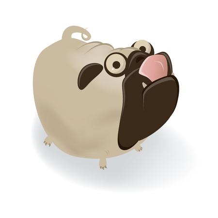 licking: funny cartoon pug is licking