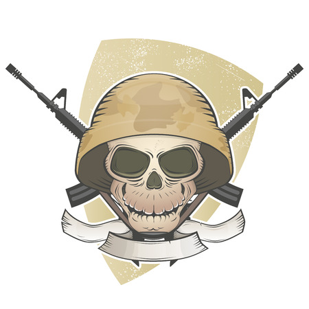 military helmet: soldier skull with crossed guns