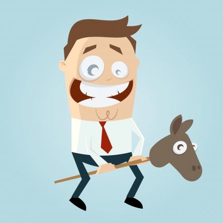おもちゃの馬を持つ面白い漫画男