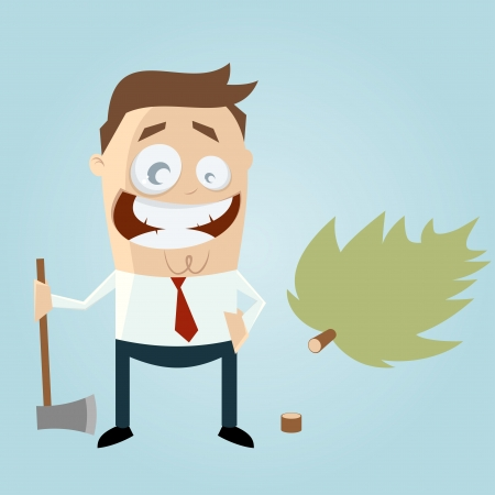 woodcutter: funny cartoon man with felled tree