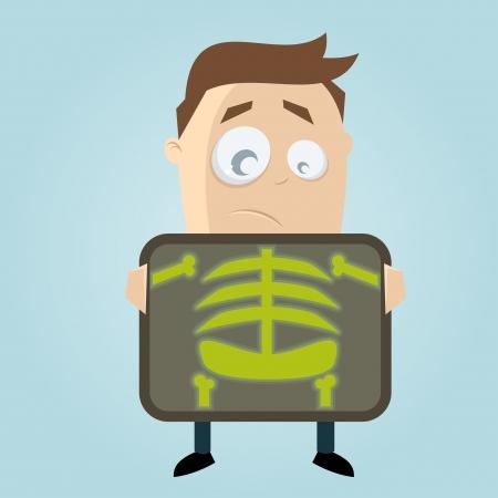 Cartoon-Mann wird immer Röntgenuntersuchung
