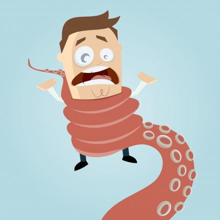 cartoon man entwined by octopus tentacle Vector