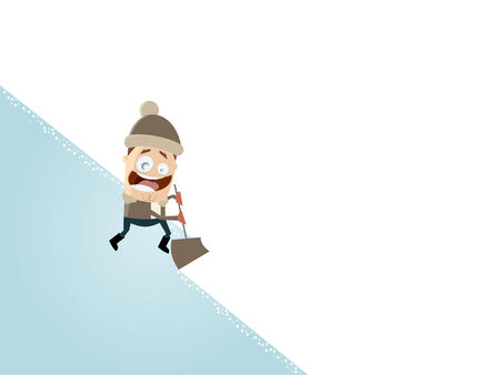 happy cartoon man with a snow shovel Illustration