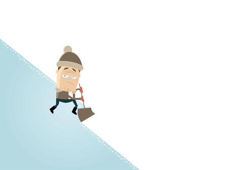 tiring: frustrated cartoon man with a snow shovel