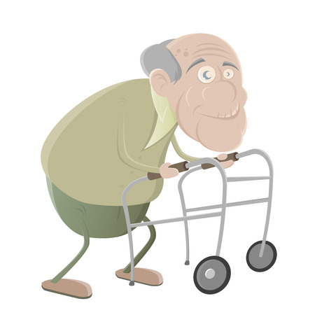 senior man with walker Illustration