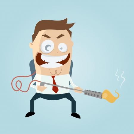 cartoon man with flamethrower Stock Illustratie