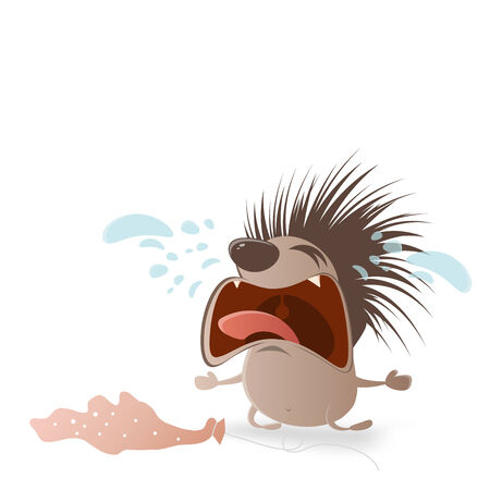 crying hedgehog with holes in balloon Vector