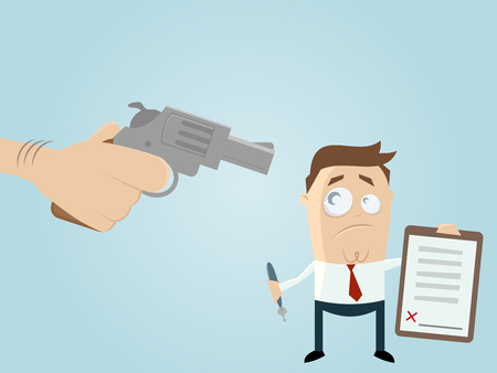 forced: forced businessman with a contract Illustration